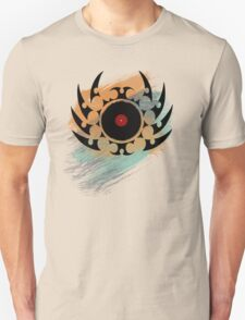 Retro Vinyl Records Music - Vinyl With Paint and Tribal Spikes - DJ TShirt Unisex T-Shirt