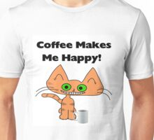 Coffee Makes Me Happy Cat Unisex T-Shirt