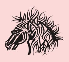 Tribal Horse Cool Vector T-Shirt and Stickers One Piece - Short Sleeve