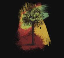 Grunge Palm Tree T-Shirt - Art Prints - Stickers Notebooks One Piece - Long Sleeve