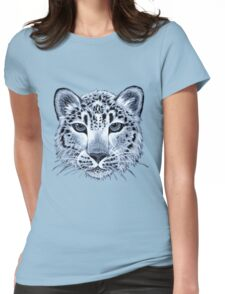 Snow leopard acrylic painting Womens Fitted T-Shirt