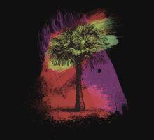 Grunge Palm Tree Summer T-Shirt One Piece - Short Sleeve