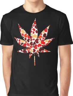Love and Weed - Cannabis leaf with hearts Graphic T-Shirt