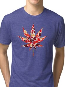 Love and Weed - Cannabis leaf with hearts Tri-blend T-Shirt