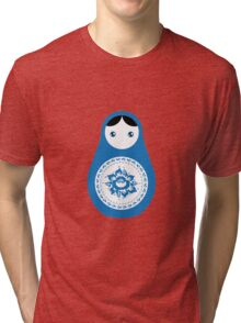 Matrioshka doll blue and white Tri-blend T-Shirt