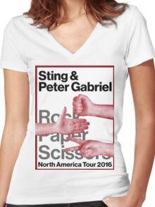 rock paper scissors tour 2016 didit Women's Fitted V-Neck T-Shirt