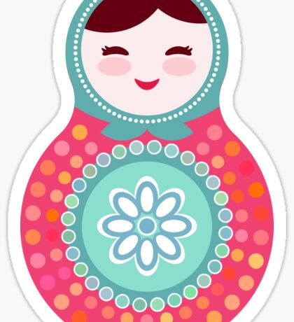Pink and green matryoshka doll Sticker