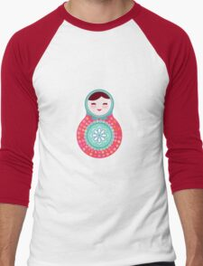 Pink and green matryoshka doll Men's Baseball ¾ T-Shirt