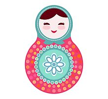 Pink and green matryoshka doll Photographic Print