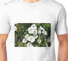 White calm flowers in the garden. Unisex T-Shirt