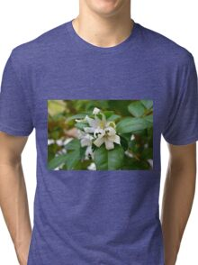 Macro on small beautiful white flowers on green leaves. Tri-blend T-Shirt