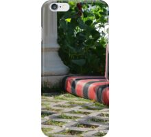 Mattress in the park and white classical column next to green leaves. iPhone Case/Skin