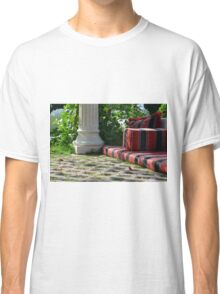 Mattress in the park and white classical column next to green leaves. Classic T-Shirt
