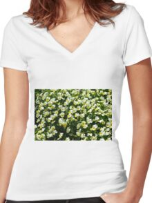Many small beautiful yellow white flowers in the park. Women's Fitted V-Neck T-Shirt