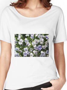 Beautiful small white purple flowers in the green bush. Women's Relaxed Fit T-Shirt