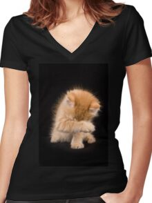Charming fluffy ginger kitten on a black background Women's Fitted V-Neck T-Shirt