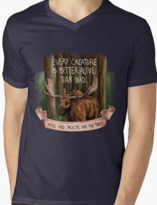 Men and Moose and Pine Trees Mens V-Neck T-Shirt