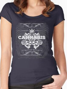 Cannabis Art Deco Retro Design Women's Fitted Scoop T-Shirt