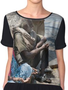 An old couple beg under a tree in Chennai India Chiffon Top