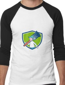 House Painter Paintbrush Walking Shield Cartoon Men's Baseball ¾ T-Shirt