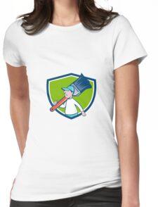 House Painter Paintbrush Walking Shield Cartoon Womens Fitted T-Shirt