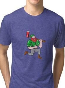 Paul Bunyan LumberJack Axe Kneeling Cartoon Tri-blend T-Shirt
