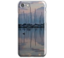 Pink, White and Blue Silky Mirror - Boat Reflections and a Grebe iPhone Case/Skin