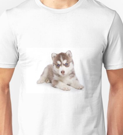 Fluffy cute puppy husky with blue eyes Unisex T-Shirt