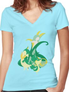 Snivy Evolution Women's Fitted V-Neck T-Shirt