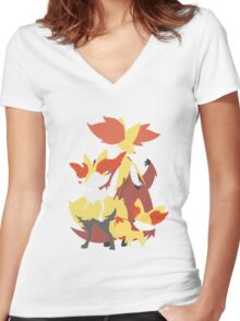 Fennekin Evolution Women's Fitted V-Neck T-Shirt