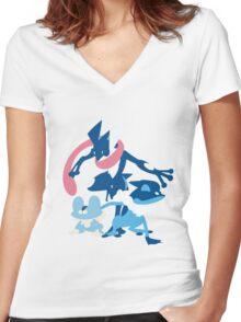 Froakie Evolution Women's Fitted V-Neck T-Shirt