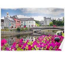 flower lined riverside view of kilkenny Poster