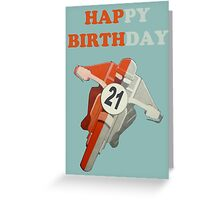 HAPPY 21ST BIRTHDAY MOTORCYCLE CARD Greeting Card