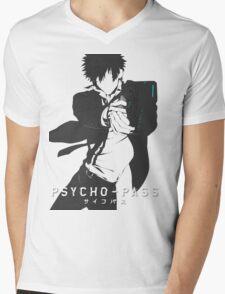 white psyco pass Kougami Shinya Mens V-Neck T-Shirt