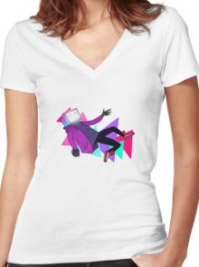 Pyrocynical falling Women's Fitted V-Neck T-Shirt