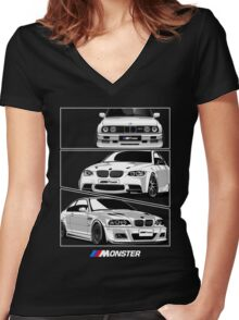 Three BMW Monster Women's Fitted V-Neck T-Shirt