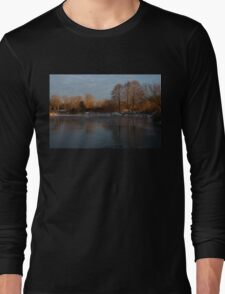 Gray and Amber - an Early Winter Morning on the Lake Shore Long Sleeve T-Shirt