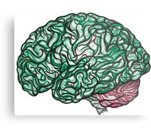 Brain Storming and tangled thoughts - Green Metal Print