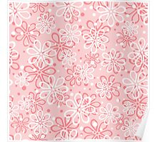 Cute pink floral pattern Poster