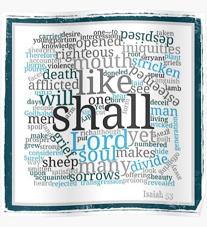 Isaiah 53 Religious Christian Typography Art Poster