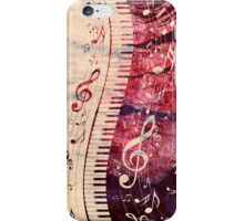 Piano Keyboard with Music Notes Grunge iPhone Case/Skin