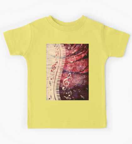 Piano Keyboard with Music Notes Grunge Kids Tee