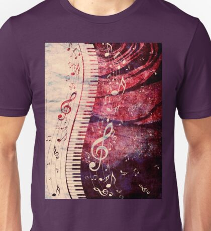Piano Keyboard with Music Notes Grunge Unisex T-Shirt