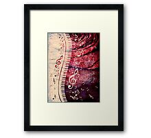 Piano Keyboard with Music Notes Grunge Framed Print