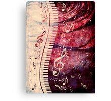 Piano Keyboard with Music Notes Grunge Canvas Print