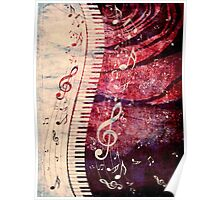 Piano Keyboard with Music Notes Grunge Poster