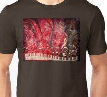 Piano Keyboard with Music Notes Grunge 2 Unisex T-Shirt