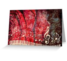 Piano Keyboard with Music Notes Grunge 2 Greeting Card