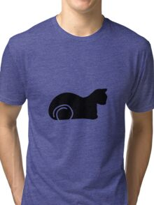 Whimsical Black Cat Vector Illustration Tri-blend T-Shirt