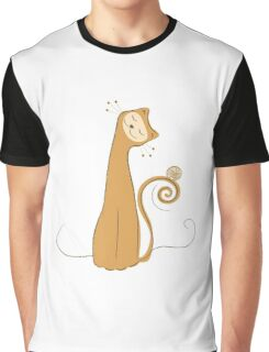 Cheerful Cat Silhouette Vector Art Graphic T-Shirt